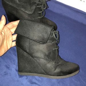 Black Suede Wedges Size 8 Mossimo Supply Co.